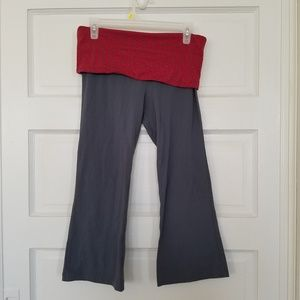 Alo Yoga Pants Dark Gray with Fold Over Red Accent